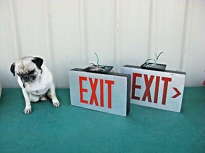 Pair Of Vintage Lighted Exit Sign Metal Casing With Lens One Sided Theatre
