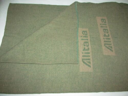 ALITALIA AIRLINE luxury vintage cabin blanket travel couch throw green Lanerossi