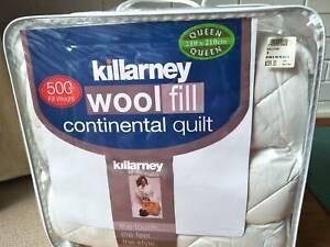 wool doona/duvet/quilt queen size 210 x 210 new never used 500gsm