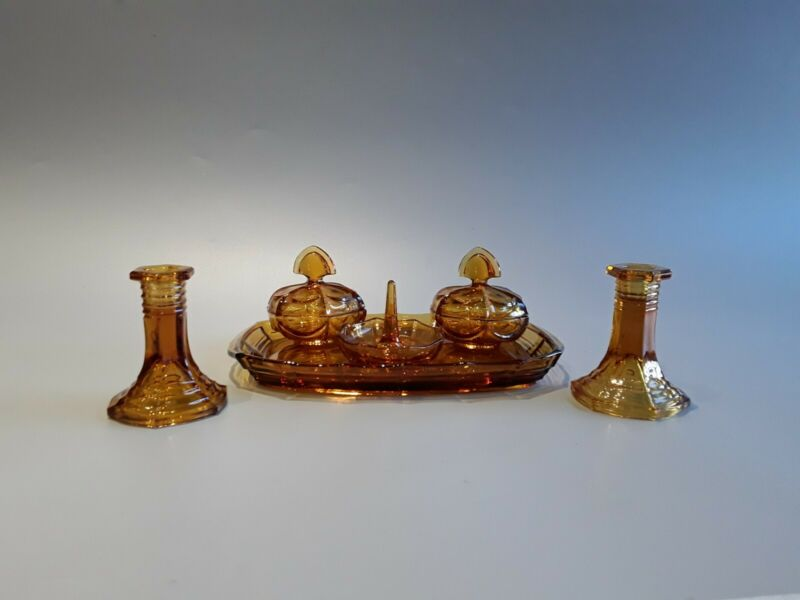 Amber glass dressing table set