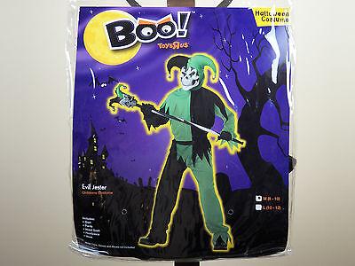 Skeleton Jester Costume (Boo! Evil Jester Halloween Costume Size M 8-10 Green/Black Zombie Skeleton)