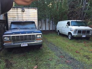 1 ton Ford with cube box and GMC van on propane