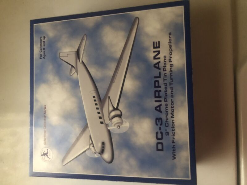 """Schylling Collector Series DC-3 Airplane 9"""" Chrome Plated Tin Plane w/ Friction"""