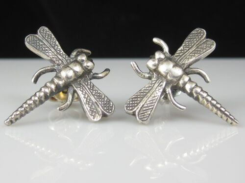 Dragonfly Earrings Silver 925 Estate Insect Pierced Fly Friction Backs