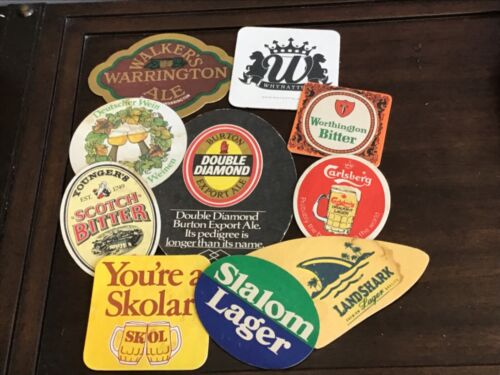 VINTAGE BAR DRINK COASTERS 10 ASSORTED BRANDS ADVERTISING
