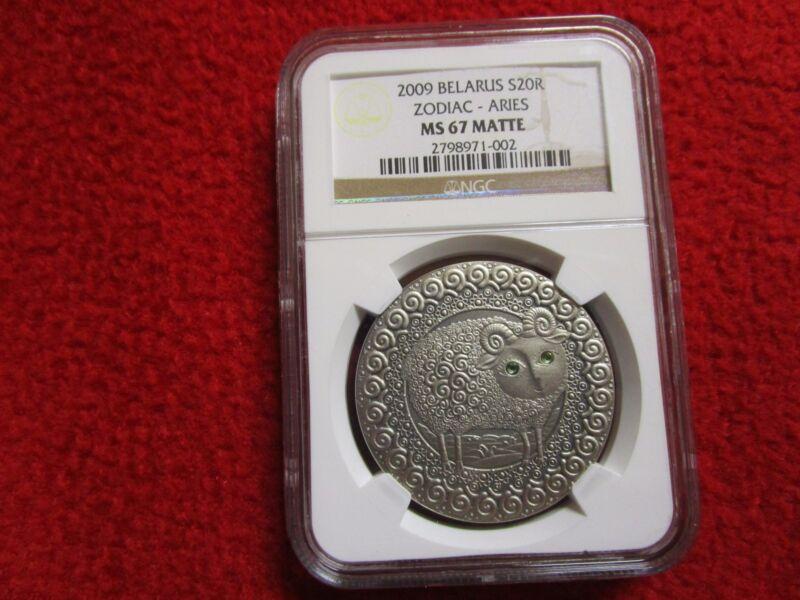 Belarus 2009 20 Rubles Zodiac Signs - Aries NGC MS67 Swarvoski Silver Coin