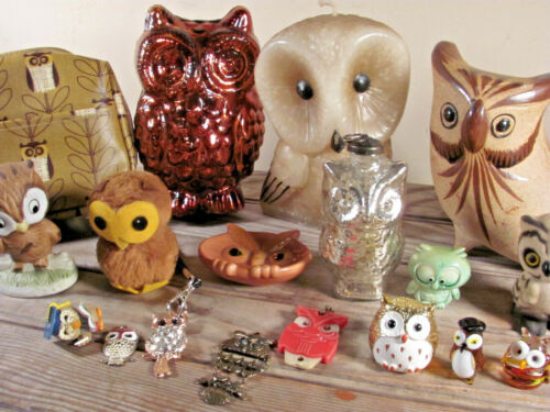 Vintage to now OWL collection lot of 18 pieces ceramic wood plastic glass & more