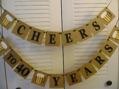 Cheers to 21,30,40,50,60 Any Years Custom Age Birthday Banner Garland Handmade - Cheers Banner