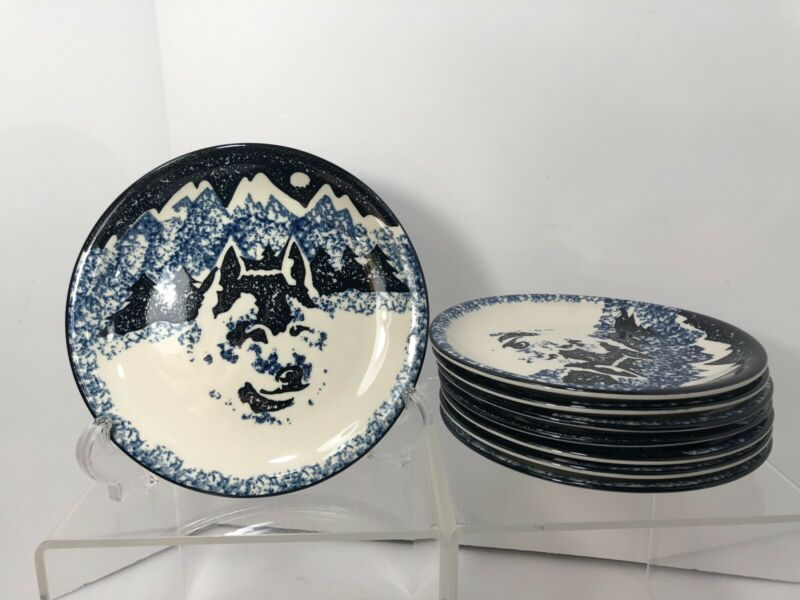 "Set Of 8 Folk Craft Wolf Tienshan China (7 3/4"" C) Side Plates"