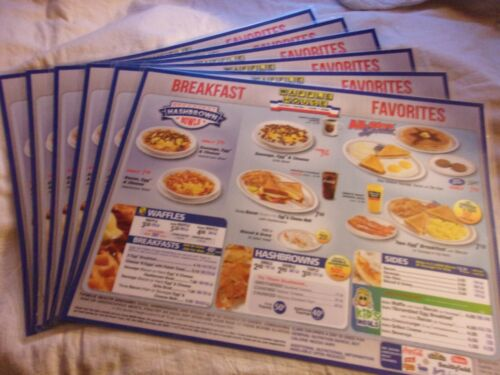 6 Waffle House Place Mat Menus 11X14 Right From My Local Restaurant Gently Used