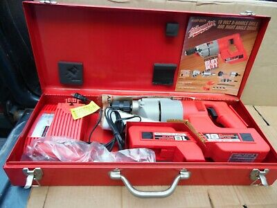 Milwaukee 1108-21 Vtg 18v H.d Hammer Drill Power Plus 2 Batteries Charger Usa