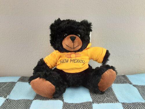 "Plushland New Mexico Plush Teddy Bear 12"" Black 2012 Yellow Hoodie Sitting Soft"