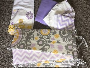 Nursery bumper pads, crib skirt and extra material