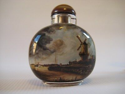 Vintage Chinese Inside Painted Glass Snuff Bottle European Paintings, Exquisite!