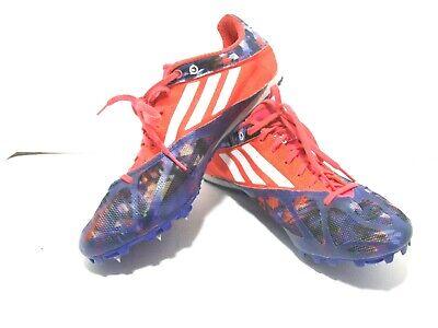 Neon Blue Spider (Adidas Spider IV Blue/Neon orange Track and Field Running Shoes Men's Size)