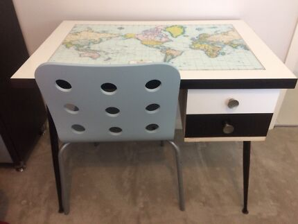 A map of the world home garden gumtree australia free local retro world map desk with ikea chair gumiabroncs Image collections