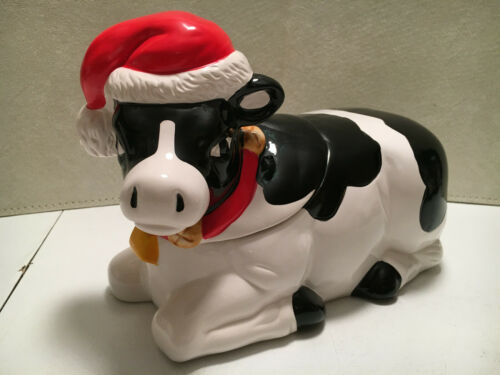 Vintage Christmas Cow Cookie Jar - Earthenware - Moos -Santa Hat - NOS