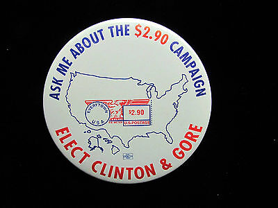 """1992 Clinton for President 3"""" Pinback Button Ask Me About The $2.90 Campaign"""