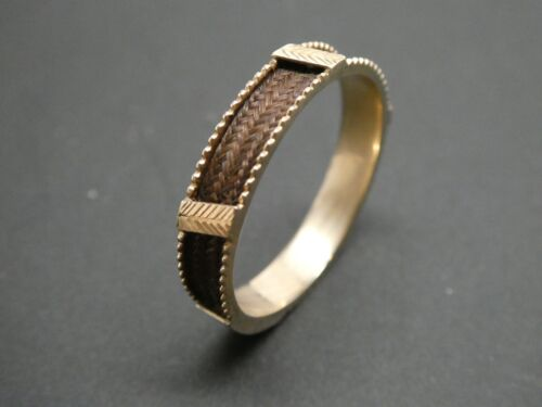 Victorian Edwardian 14KT Gold Blank Engraved Cartouche Hair Mourning Ring 9.5