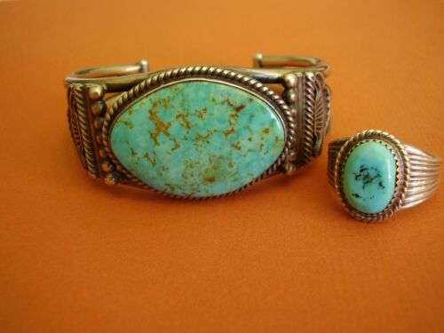 OSCAR ALEXIUS Sterling Silver & TURQUOISE Cuff Bracelet and Ring AS BONUS