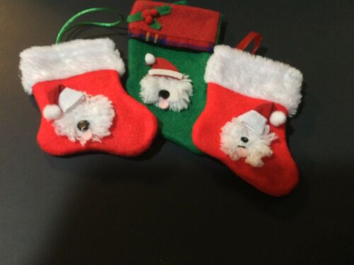 3 hand crafted Old English sheepdog stocking ornaments 1 green, 2 red