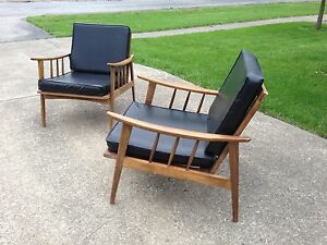 VTG danish modern lounge chairs retro MID CENTURY scandinavian black vinyl