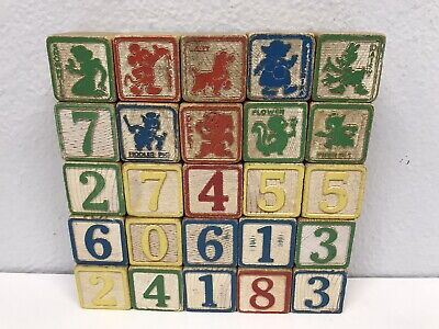 Vintage Lot of Alphabet And Disney Wooden Blocks
