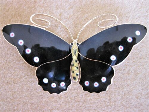 "3-1/2"" WIDE - Magnificent Sterling Enamel Hestenes Norway Butterfly Pin Brooch"