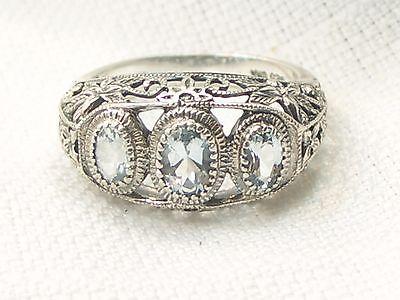 Estate Vintage Filigree Sterling Silver Aquamarine CNA Signed 3 Stone Ring