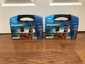 PlayMobil pirate raft in carrying case NEW x2