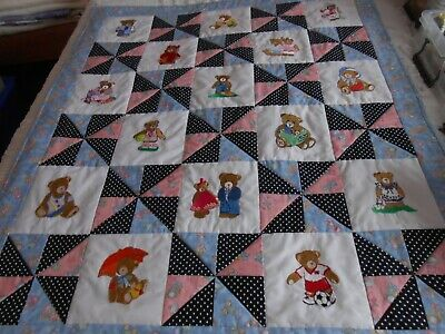 PACHWORK AND MACHINE EMBROIDERED CHILDS QUILT