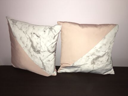 Set of marble/ pink throw pillows