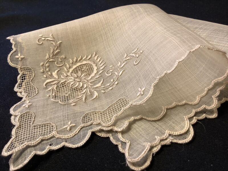#8081🌟RARE Antique c1800s Piña LinenCloth Fancy Embroidery Wedding Handkerchief