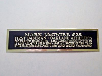 Mark McGwire Athletics Nameplate For A Baseball Bat Or Jersey Case 1.5 X 8