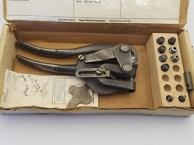 Vintage Roper Whitney No.5 Jr Metal Hand Punch Tool Set With Dies