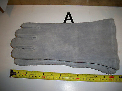 Welding Gloves Gray Leather Cowhide Protect Welder Hands