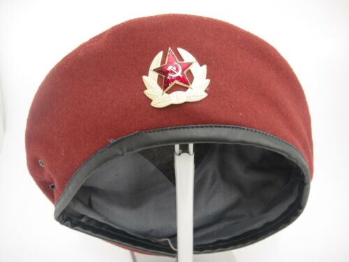 Vintage Russian KBG Beret Hat with Insignia Red Maroon Felt Drawstring Size 56