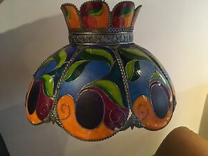 Vintage painted glass light fixture