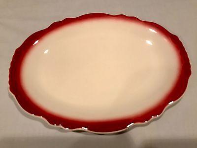 (1) VINTAGE Homer Laughlin Maroon Mauve Restaurant Oval Dinner Plate 11.25