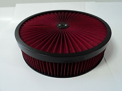 "14"" X 3"" Round Red High Flow Thru Washable Air Cleaner Drop Base Lid Extreme 350"