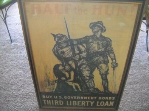 "Original  Lithograph ""Halt the Hun"" Buy Government Bonds WW1 Framed Vintage"