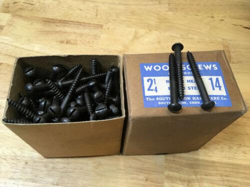 "144 NOS #14 x 2-1/4"" Blued Steel Round Head Wood Screws w/ Box Slotted USA"