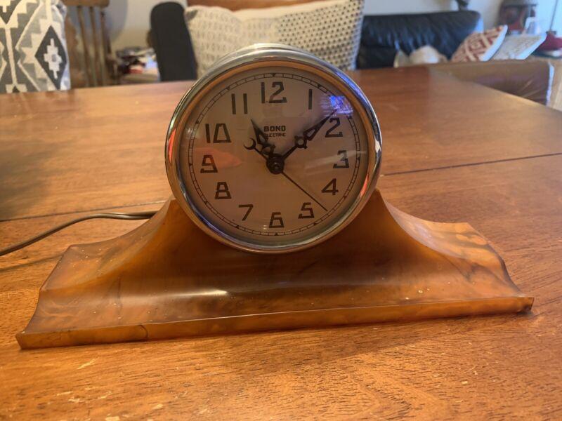 Bond deco Electric Bakelite Catalin Clock Rare