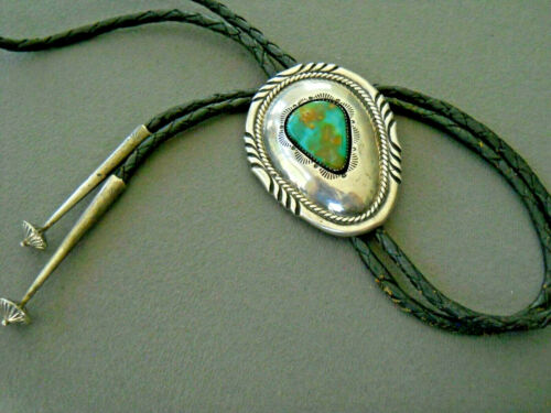 Native American Royston Turquoise Sterling Silver Shadowbox Bolo Tie