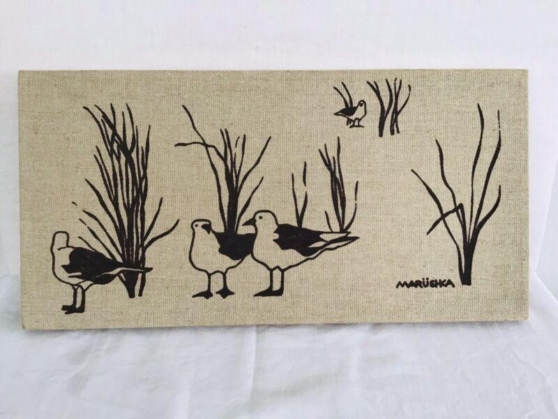 Vintage MARUSHKA Framed Canvas Textile On Wood Seagull Bird Screen Print 8 X 16