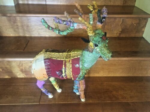 Anthropolgie Style Bohemian Adorned 20 Inch Tall Reindeer