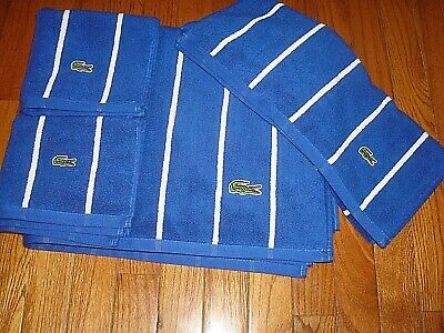 LACOSTE ROYAL BLUE WITH WHITE STRIPES TOWEL SET