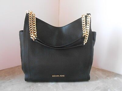 New MICHAEL KORS Newbury Medium Chain Shoulder Bag LEATHER $328 BLACK