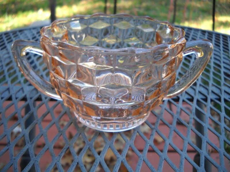 Jeannette depression glass cube open sugar bowl Pink