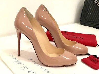 NIB Christian Louboutin Dorissima 100 Nude Patent Leather Classic FILO Heel 38,5